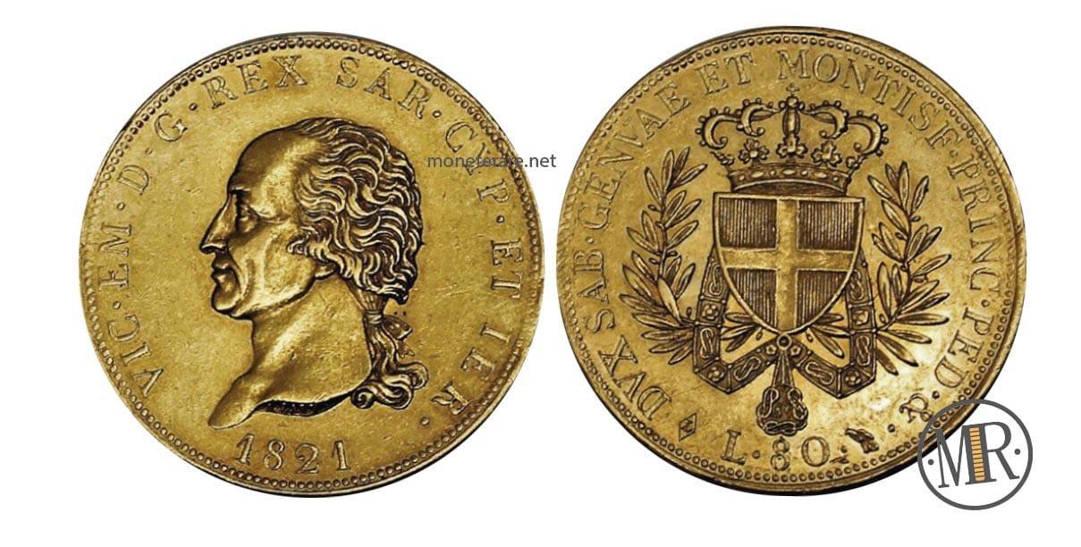 80 Lire Vittorio Emanuele I Re di Sardegna