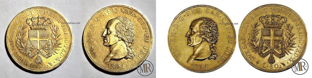 Moneta 80 Lire Regno di Sardegna 1821 Re Vittorio Emanuele I