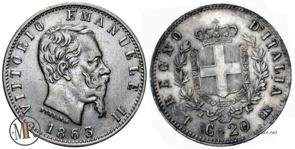 20 Centesimi 1863 Stemma Vittorio Emanuele II