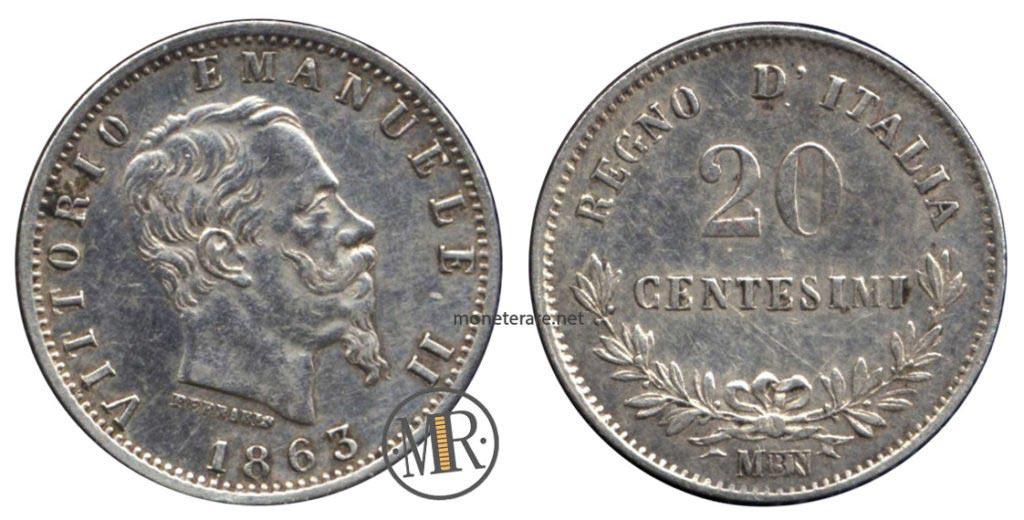 20 Centesimi 1863 Valore Vittorio Emanuele II