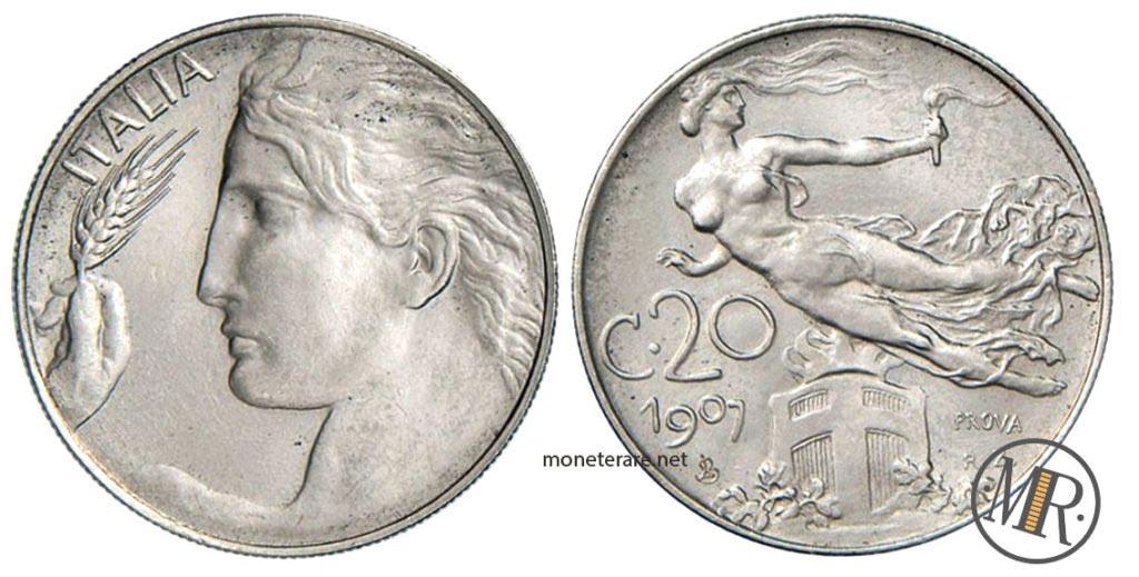 20 Centesimi 1907 Libertà Librata PROVA