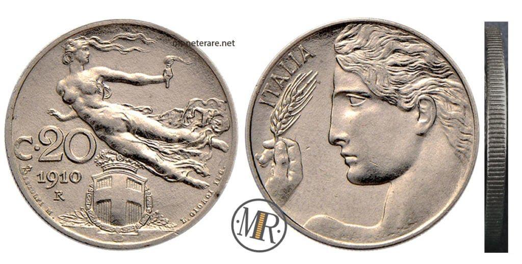 20 Centesimi Libertà Librata 1908 Vittorio Emanuele III