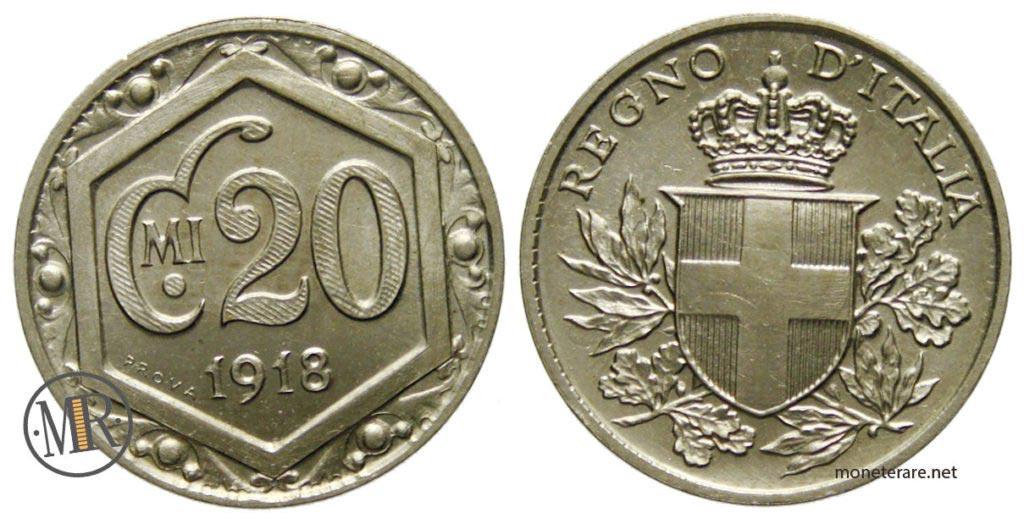 20 Centesimi Esagono 1918 Vitt. Em III PROVA