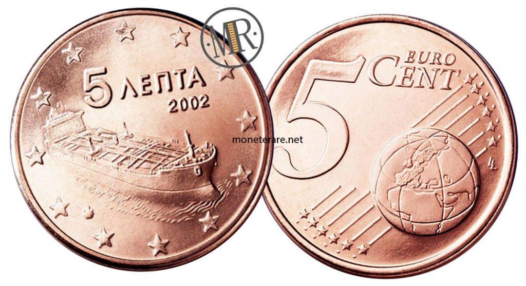 5 Cent Greek Euro Coins 2002