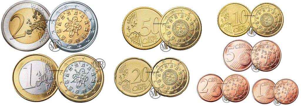 All the Portugal Euro Coins