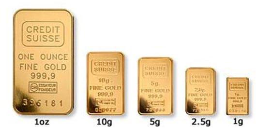comprare oro in lingotti di diverso peso