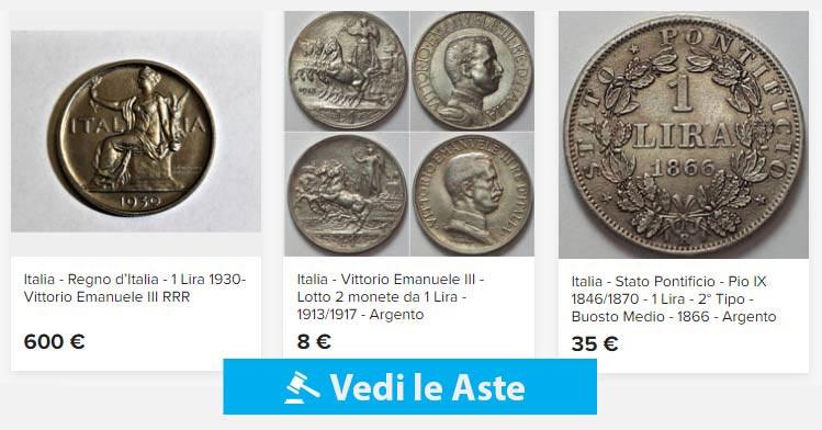 aste online di monete da 1 lira