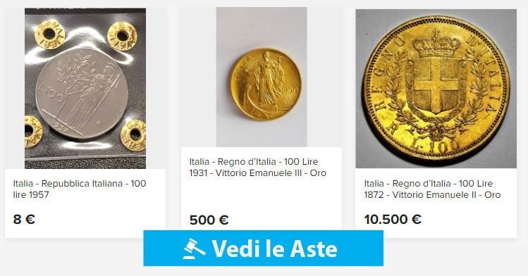 aste online monete da 100 lire