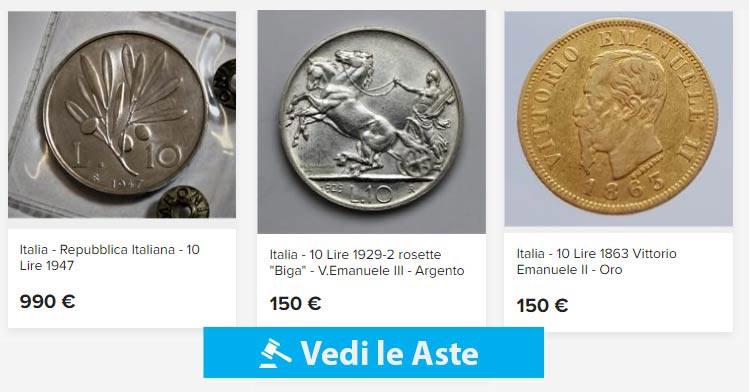 aste online di monete da 10 lire