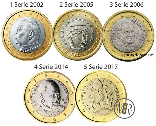 All the 5 series of the 1 Euro Coins of the Vatican City
