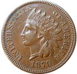 most valuable pennies 1870 indian Head Penny 1 dollar cent coin