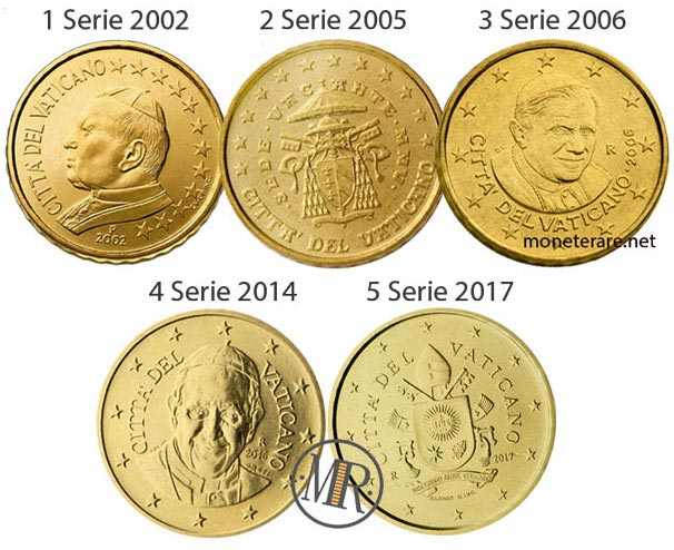 All the 5 series of the 10 cents Vatican Euro Coin