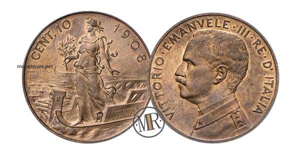10 Centesimi Su Prora 1908 Vittorio Emanuele III