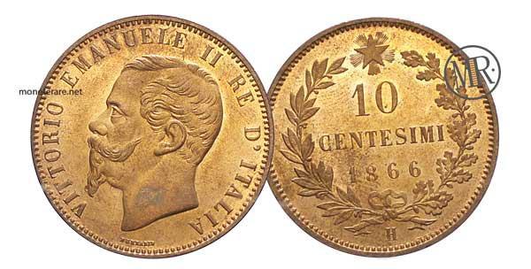 10 Centesimi Vittorio Emanuele II 1866 - 10 centesimi rari 1866