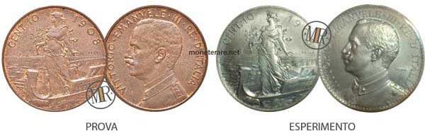 10 centesimi rari Prora 1908 PROVA