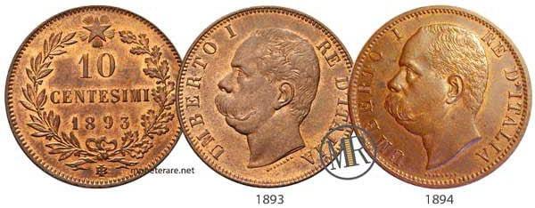 10 centesimi rari 1893 - 1894