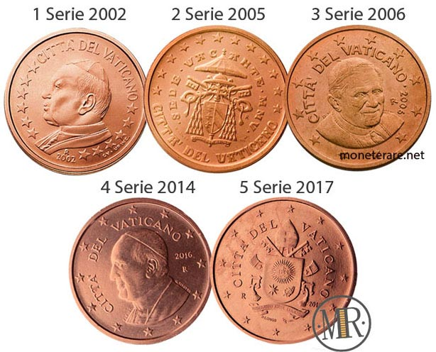 All the 5 series of the 2 cents Vatican Euro Coin
