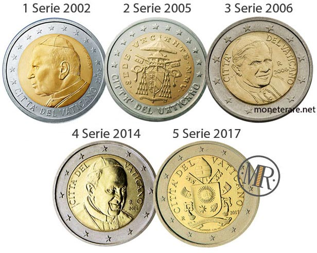 All the 5 series of the 2 Euro Coins of the Vatican City