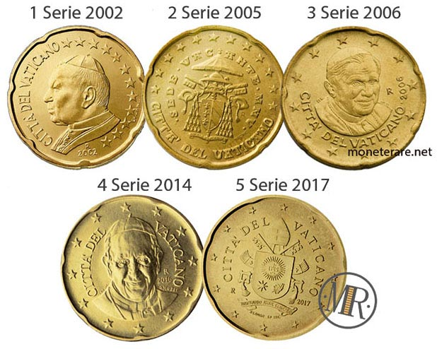 All the 5 series of the 20 cents Vatican Euro Coins