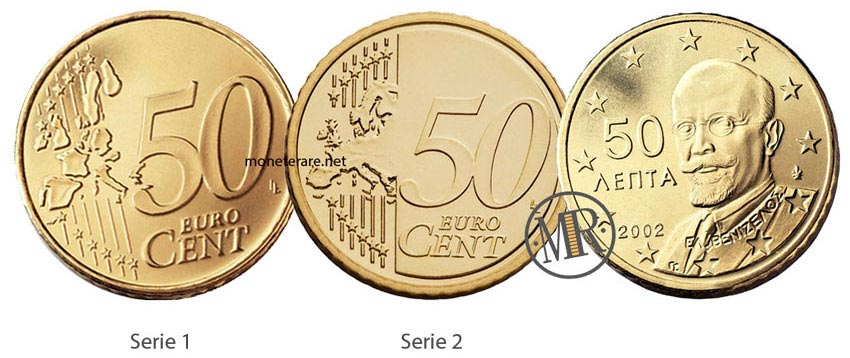 50 Cent Greek Euro Coins 2002