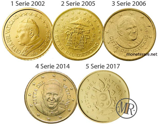 All the 5 series of the 50 cents Vatican Euro Coins