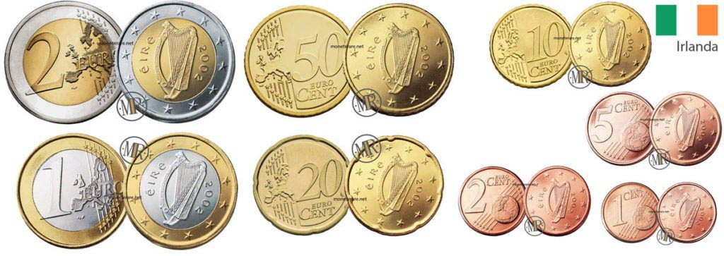 Irish Euro Coins Images And Value Of Each Euro Coin From Ireland