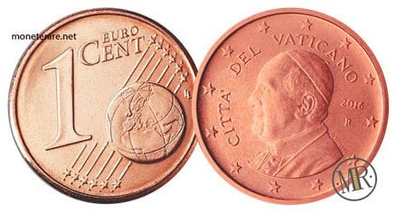 1 Cent Vatican Euro Coins Pope Francis