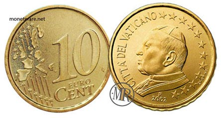 10 Cents Vatican Euro Coins Pope John Paul II 2002