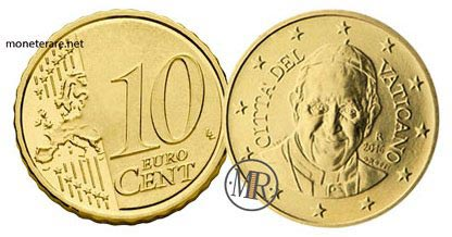 10 Cents Vatican Euro Coins Pope Francis 2016