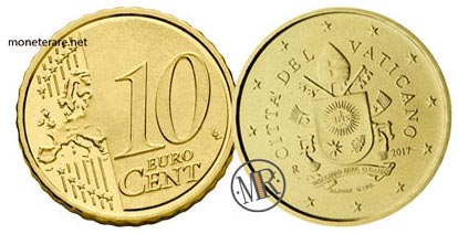 10 Cents Vatican Euro Coins Fifth series 2017