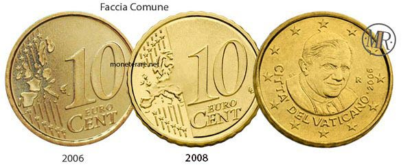 10 Cents Vatican Euro Coins Pope Benedict XVI 2006