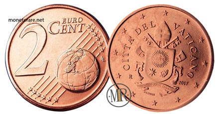 2 Cent Vatican Euro Coins Fifth series 2017