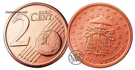 2 Cent Vatican Euro Coins Cardinal Camerlengo 2005