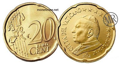 20 Cents Vatican Euro Coins Pope John Paul II 2002