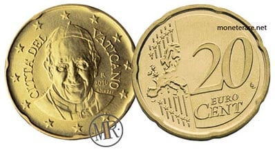 20 Cents Vatican Euro Coins Pope Francis 2016
