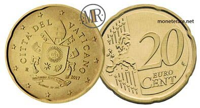 20 Cents Vatican Euro Coins Fifth series 2017