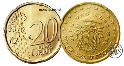 20 Cents Vatican Euro Coins Cardinal Camerlengo 2005