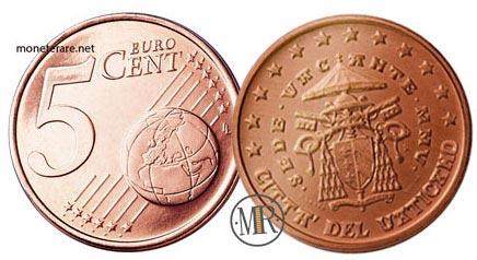5 Cent Vatican Euro Coins Cardinal Camerlengo 2005