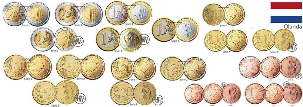 Collection of Dutch euro coins