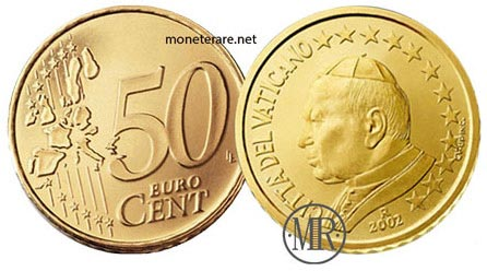 50 Cents Vatican Euro Coins Pope John Paul II 2002
