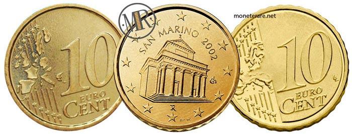10 Centesimi di Euro  della repubblica di  San Marino Prima e Seconda Serie