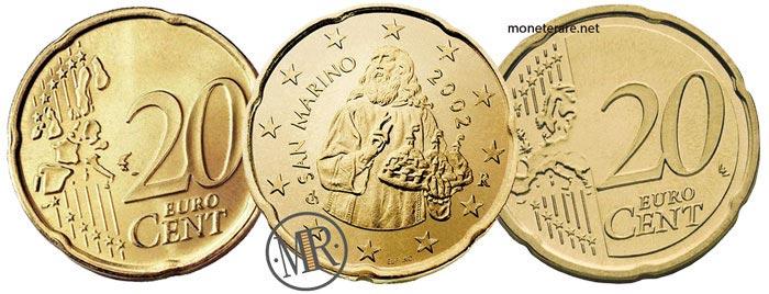 20 Centesimi di Euro  della repubblica di  San Marino Prima Serie e Seconda Serie