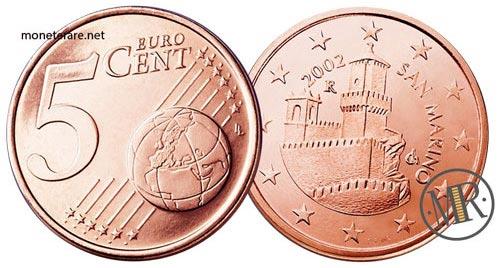 5 Centesimi di Euro  della repubblica di San Marino Prima Serie