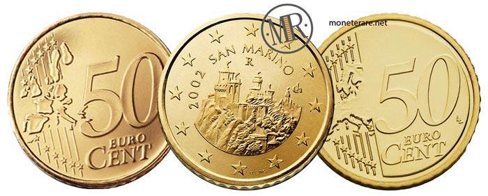 50 Centesimi di Euro della repubblica di San Marino Prima e Seconda Serie