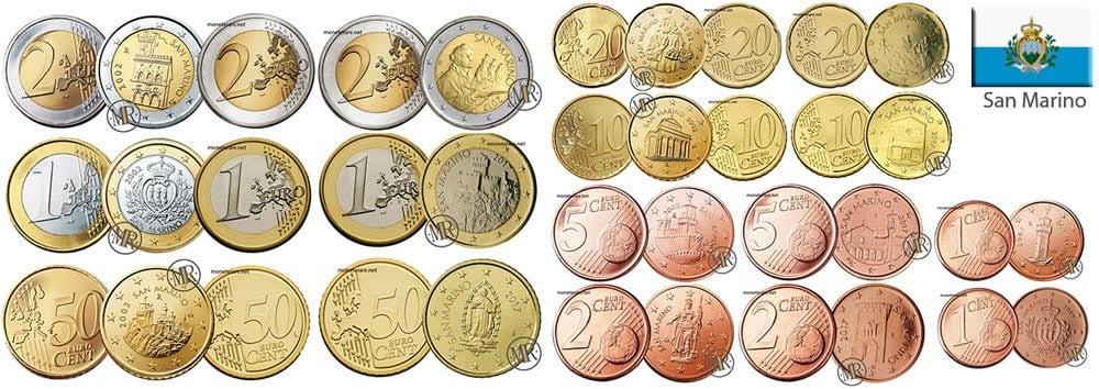 Tutte le monete divisionali di Euro della repubblica di  San Marino
