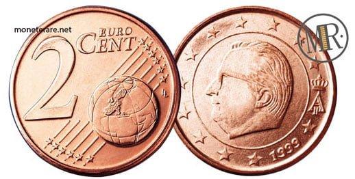 2 Centesimi Euro Belgio Prima Serie 1999