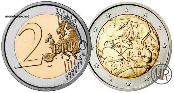 2 Euro Commemorativi Italia 2008 Sessantesimo anniversario della Dichiarazione universale dei diritti dell'uomo