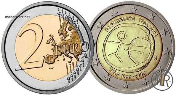 2 Euro Commemorativi Italia 2009 Decimo anniversario dell'Unione Economica e Monetaria