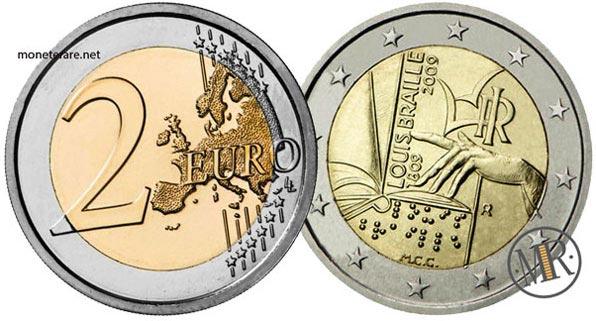 2 Euro Commemorativi Italia 2009 Duecentesimo anniversario della nascita di Louis Braille
