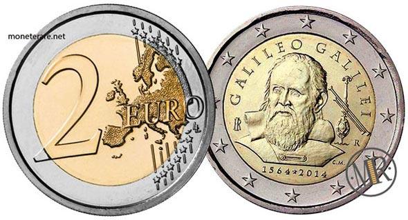 2 Euro Commemorativi Italiani del 2014 con Galileo Galilei